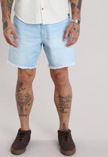 Bermuda Jeans Reta Destroyed Com Cordão Azul Claro