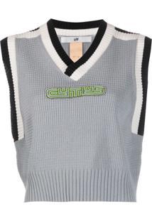 Eytys Lopes Logo-Appliqué Waffle-Knit Sweater Vest - Azul