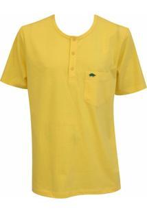 Camiseta Pau A Pique Botões - Masculino-Amarelo