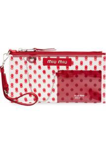 Miu Miu Clutch Transparente Com Porta-Cartão - Vermelho
