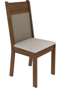 Kit 4 Cadeiras 4280 Madesa - Rustic/Crema/Pérola Marrom