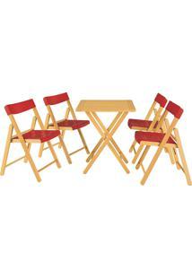 Jogo Mesa E 4 Cadeiras Tramontina Potenza 10630032 Dobrável Vermelho
