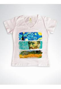 Camiseta Feminina Gola V Cool Tees Van Gogh Rose - Rosa - Feminino - Algodã£O - Dafiti