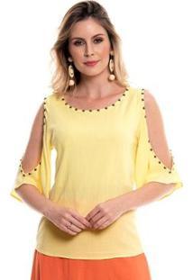 Blusa Bisô Bordada Feminino - Feminino-Amarelo