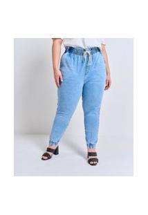 Calça Jogger Jeans Lisa Com Amarração No Cós Curve & Plus Size Azul