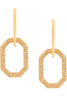 Oscar De La Renta Link Crystal-Embellished Earrings - Dourado