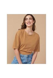 Amaro Feminino T-Shirt Oversized Estonada Gola Redonda, Capuccino
