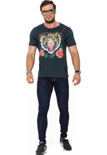 Camiseta Wolke Gola Careca Lavada Tiger