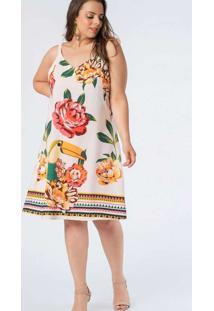 Vestido Almaria Plus Size Munny Curto Estampado Br