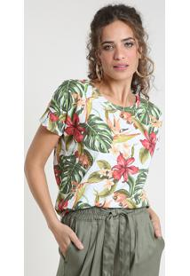 Blusa Feminina Estampada Tropical Manga Curta Decote Redondo Cinza Mescla Claro