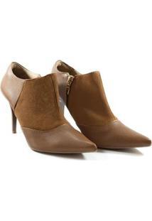 Bota Deodora Store Ankle Boot Couro Bico Fino Alta Feminina - Feminino-Marrom