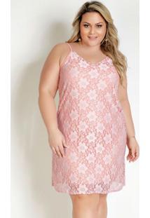 Vestido Curto Rosa Com Renda E Alças Plus Size