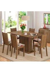 Conjunto Sala De Jantar Madesa Megan Mesa Tampo De Madeira Com 6 Cadeiras Marrom