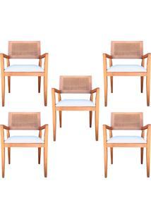 Kit 5 Cadeiras Decorativas Sala De Jantar Megan Amêndoa Linho Bege - Gran Belo