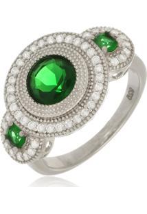 Anel Le Diamond Em Prata 925 Com Esmeraldas