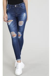 Calça Jeans Feminina Sawary Cigarrete Destroyed Azul Escuro