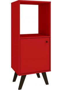 Estante Com 1 Porta Retrô Domus Baixa Delmarco Móveis Vermelho