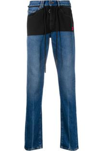Off-White Drawstring Detail Slim-Fit Jeans - Azul