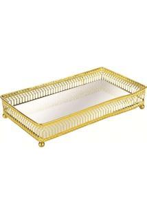 Bandeja Em Metal Com Espelho Dourada - Mart Collection 7175