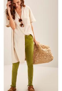 Calça Sarja Skinny Cintura Média Comfort Push Up Verde