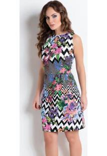 Vestido Detalhe Gota Mix De Estampas