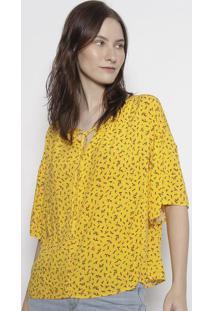 Blusa Floral Com Amarraã§Ã£O - Amarela & Rosalevis
