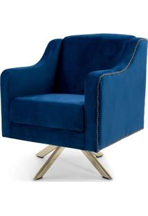 Poltrona Decorativa Sala De Estar Giratória Dourado Hana Veludo Azul - Gran Belo