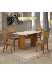 Conjunto De Mesa De Jantar Florença Ii Com 4 Cadeiras Havaí Suede Off White E Cappuccino