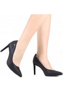 Sapato Tanara Scarpin Em Couro Recorte V