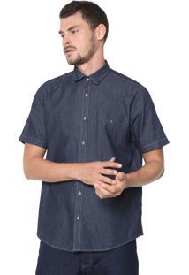 Camisa Jeans Aramis Slim Pespontos Azul