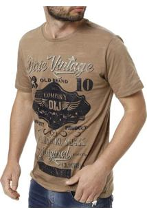 Camiseta Manga Curta Masculina Dixie - Masculino-Marrom