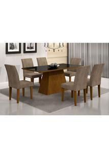 Conjunto De Mesa Luna I 180 Cm Com 6 Cadeiras Grecia Animalle Imbuia E Chocolate