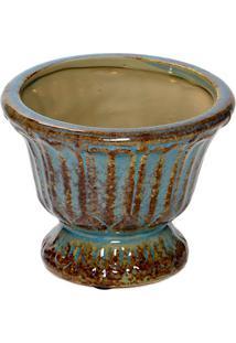 Vaso Decorativo- Azul & Marrom- 9,5Xø12Cm- Decordecor Glass