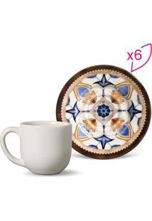 Jogo De Xícaras De Café Mônaco- Off White & Azul Claro