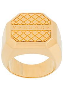 Versace Anel Com Logo Gráfico - Dourado