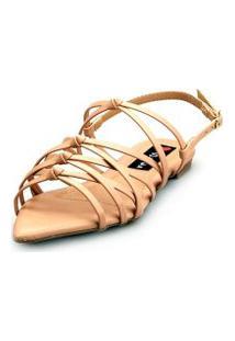 Sandalia Love Shoes Rasteira Bico Folha Trançado Nó Nude