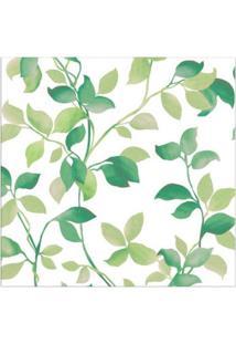 Papel De Parede Folhagem Verde E Branco Allegra Vinílico 53Cm X 10M Muresco