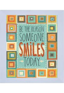 "Quadro Decorativo ""Reason Smiles""- Azul & Laranja- 3Kapos"