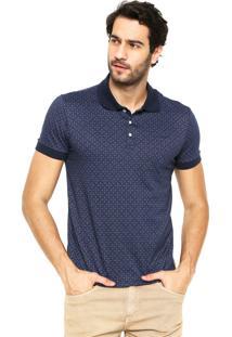 Camiseta Polo Colcci Textura Azul