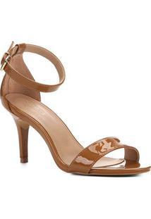 Sandalia Shoestock Salto Alto Naked Feminina - Feminino-Castanha