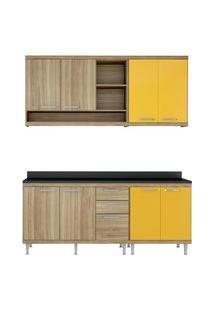 Cozinha 4 Peças Com Tampo Argila E Amarelo Sicilia Multimóveis