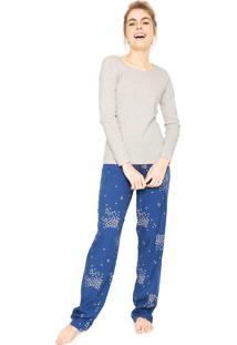 Pijama Hering Listrado Azul/Rosa