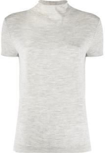 N.Peal Blusa De Tricô Com Gola Alta Ampla - Cinza