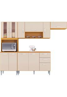 Cozinha Compacta C/ Balcão Lavinia-Poquema - Damasco / Off White