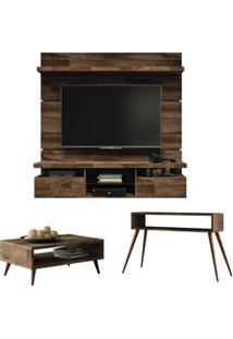 Painel Tv Livin 1.6 Com Mesa De Centro Lucy E Aparador Quad Deck - Hb