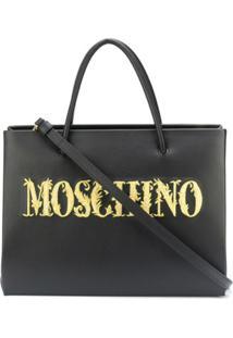 Moschino Embroidered-Logo Shopper Bag - Preto