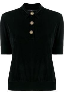 Balmain Camisa Polo De Veludo - Preto