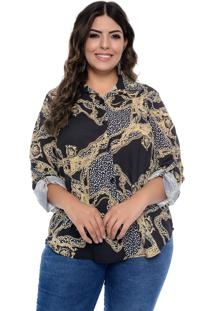 Camisa Arimath Plus Size Jewel Preto