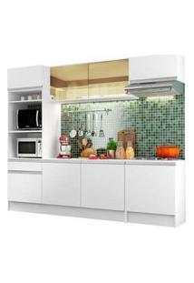 Cozinha Completa Madesa Diamante Com Armário, Balcão E Tampo Branco Branco