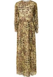 Adriana Degreas Vestido Longo De Seda Estampado - Amarelo